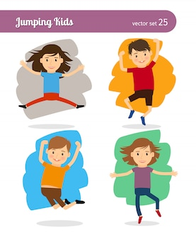 Jumping kids characters.