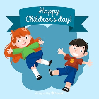 Jumping kids childrens day background