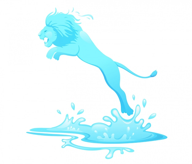 Jumping lion out of water