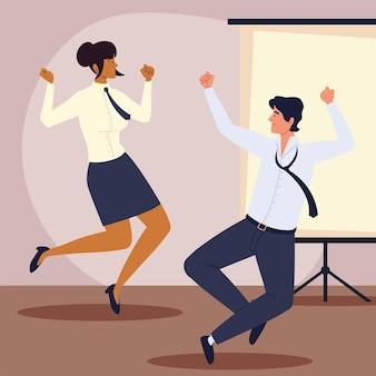 Прыжки бизнес мужчина женщина в офисе