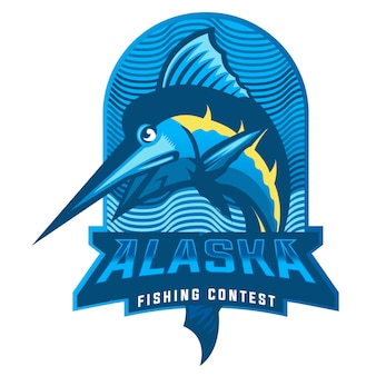 Jumping marlin fish mascot logo