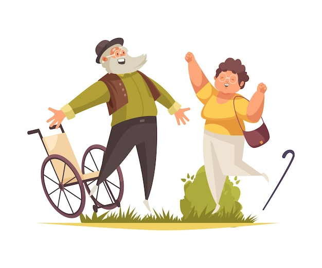 Jumping people concept with fun symbols flat illustration