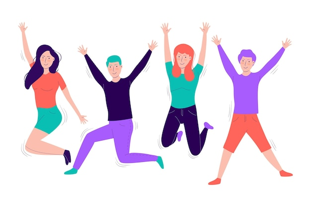 Jumping people flat design
