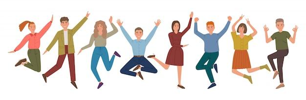 제기 손과 미소로 사람들 그룹 점프. 즐거운 웃음 남자와 여자. 만화 캐릭터입니다.