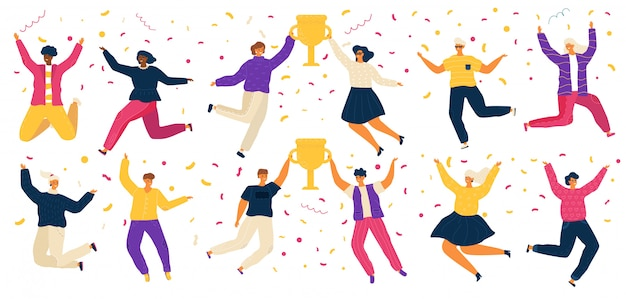 Jumping people, happy carton characters, award winner  illustration. men and women celebrating victory in competition, cheerful people jump with trophy award. contest winner celebration party