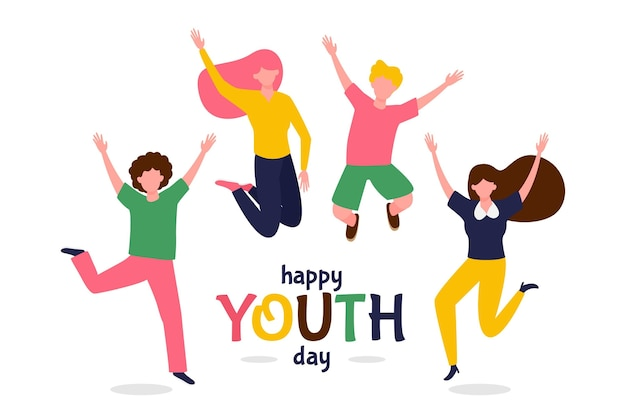 평면 디자인의 청소년의 날에 사람들을 점프