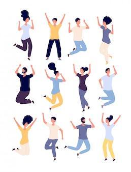 사람들이 점프 설정합니다. 행복 웃는 성인 점프 행사를 즐길 수 있습니다.