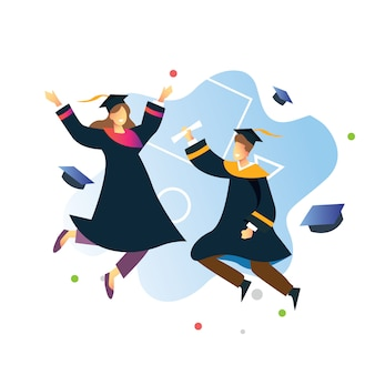 Jumping people of two collage student in graduation day education theme