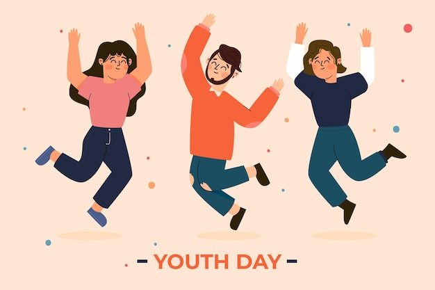 Jumping people on youth day in flat design