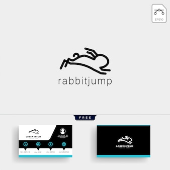 Jumping rabbit or bunny logo template and business card