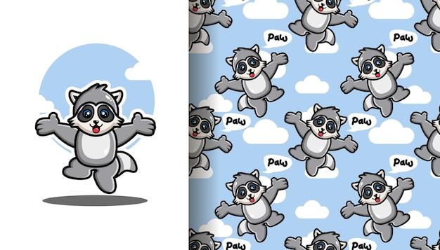 Jumping raccoon seamless pattern