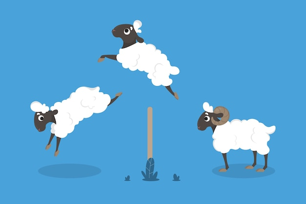 Jumping sheep and fence on blue.