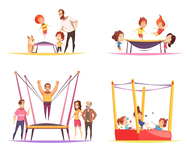 Jumping trampolines set with kids
