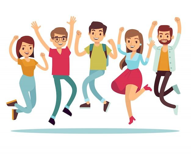 Jumping young happy people in casual clothes. flat vector characters set