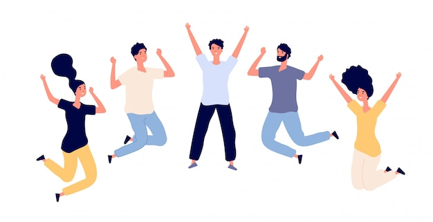 행복한 젊은이들을 점프. 공중에 사람을 비행, 점프를 축하하는 남자와 여자 청소년. 문자 세트