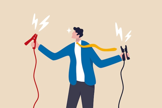Jumpstart your career, boost or recharge motivation, coaching or mentorship to win business target concept, cheerful businessman manager holding high energy battery jumper ready to jumpstart employee.