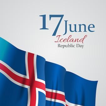 June 17 iceland republic day background.  illustration