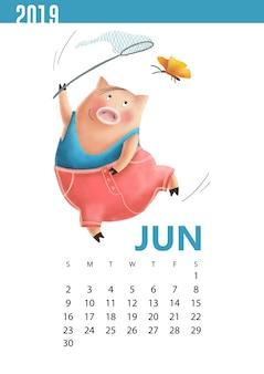 手描きのカレンダーjune 2019のための面白い豚のイラスト