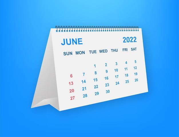 June 2022 calendar leaf. calendar 2022 in flat style. vector illustration.