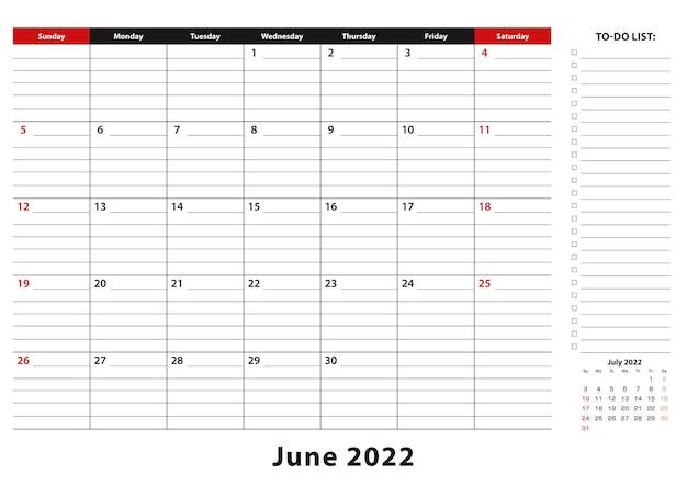Июнь 2022 г. ежемесячная неделя настольного календаря начинается с воскресенья, размер a3.