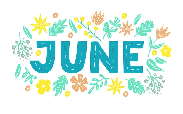 June  hand drawn lettering month name hand written month may for calendar monthly logo