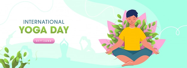 June, international yoga day concept with young boy meditating and silhouette female practicing yoga on green and white background.