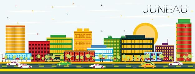 컬러 건물과 푸른 하늘이 있는 주노 스카이라인. 벡터 일러스트 레이 션. 비즈니스 여행 및 관광 개념입니다. 프레젠테이션 배너 현수막 및 웹사이트용 이미지.