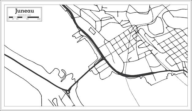 Карта города джуно сша в стиле ретро. контурная карта. векторные иллюстрации.