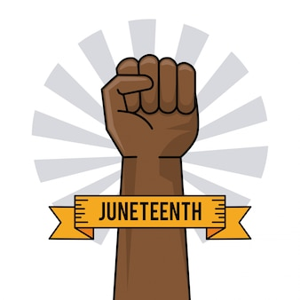Juneteenth day hand fist raise ribbon image