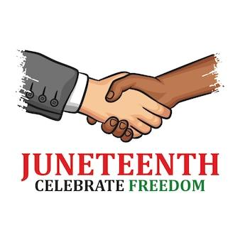 Juneteenth 독립 기념일. 자유 또는 해방의 날. 6 월 19 일에 기념하는 미국의 연례 공휴일. 아프리카 계 미국인의 역사와 유산.