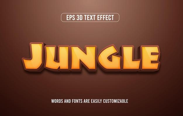 Приключение в джунглях 3d векторный редактируемый текстовый эффект