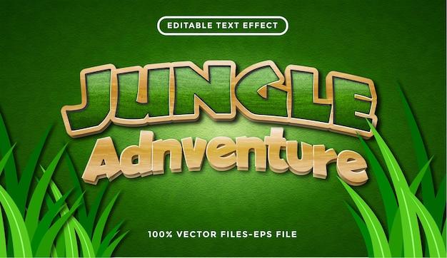 정글 모험 텍스트 효과, 편집 가능한 만화 및 숲 텍스트 스타일 premium vector