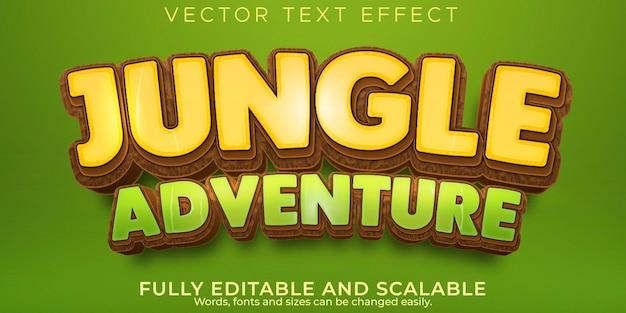 Текстовый эффект приключений в джунглях, редактируемый стиль текста мультфильма и леса