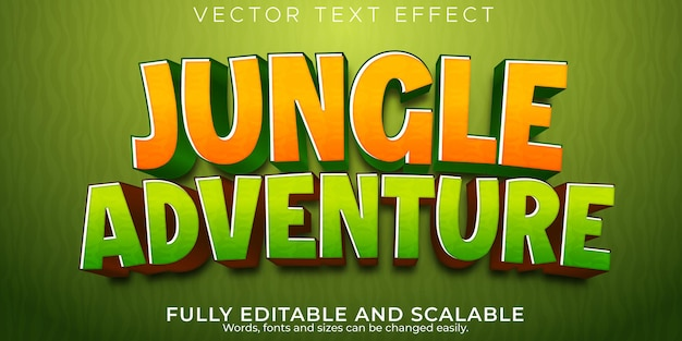 Jungle adventure text effect editable cartoon and comic text style