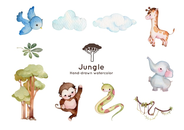 ジャングルアドベンチャーテーマ水彩イラスト