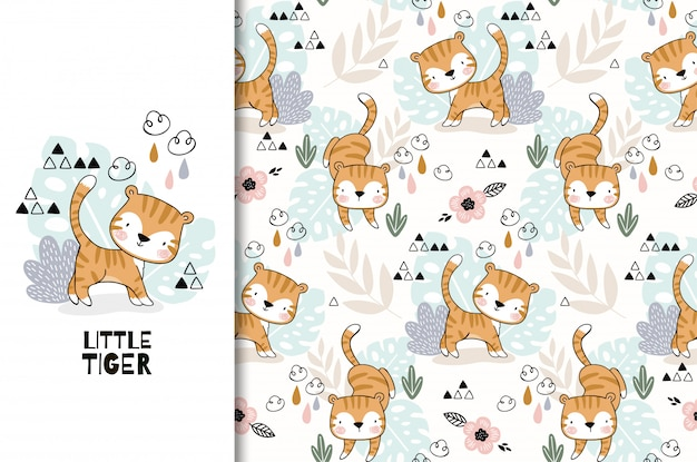 Jungle animal. cute cartoon tiger baby characte seamless pattern set. hand drawn  illustration.