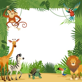 Jungle animals card. frame animal tropical leaves greeting baby banner zoo border template party children