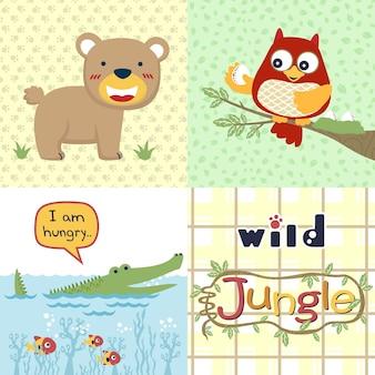 Jungle animals cartoon, wildlife cartoon
