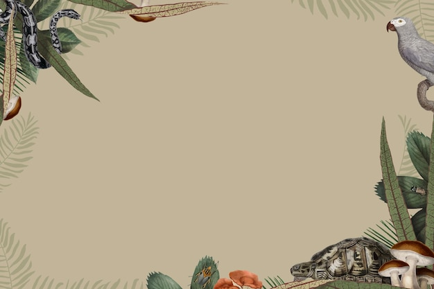 Jungle animals frame vector with design space on beige background