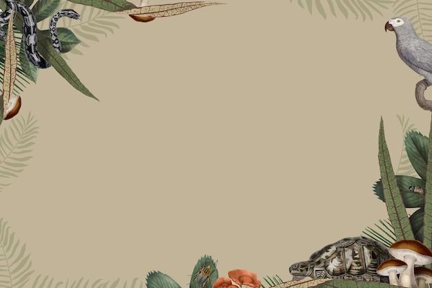 Вектор рамки животных джунглей с пространством дизайна на бежевом фоне