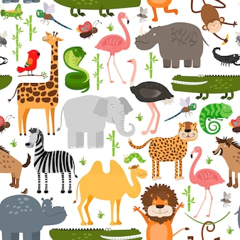 Jungle animals seamless pattern.