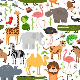 Бесшовный узор из животных джунглей.