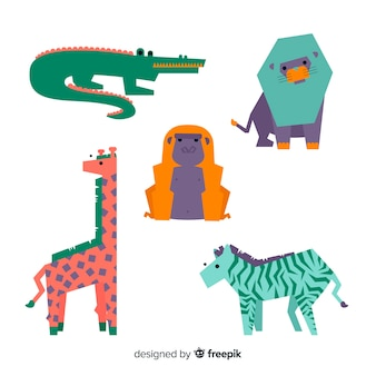 Jungle animals set: crocodile, alligator, lion, giraffe, zebra
