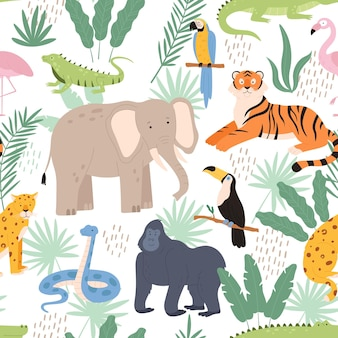 Jungle animals and tropical palm leaves decorative seamless pattern. exotic rainforest print with tiger, parrot and leopard vector texture. illustration of jungle animal pattern