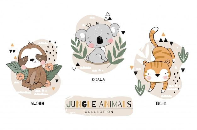 Коллекция животных джунглей. ленивец с персонажами мультфильма коала и тигр. нарисованная рукой иллюстрация установленного дизайна значка.