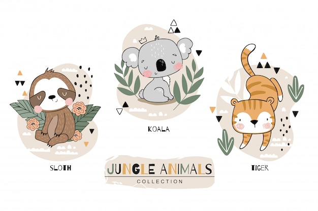 Jungle baby animals collection. sloth with koala and tiger cartoon characters. hand drawn icon set design illustration.