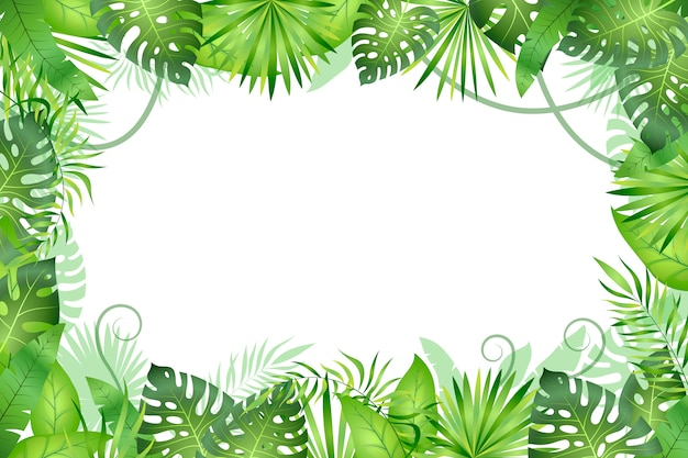 Jungle background. tropical leaves frame. rainforest foliage plants, green grass trees. paradise wildlife jungle