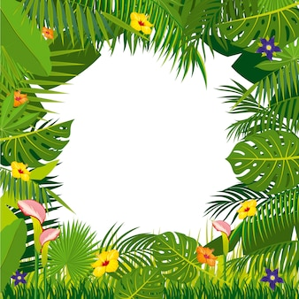 Jungle background with palm tree leaves