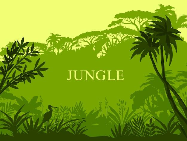 야자수, 이국적인 식물, 황새 개요 및 복사 공간 정글 배경.