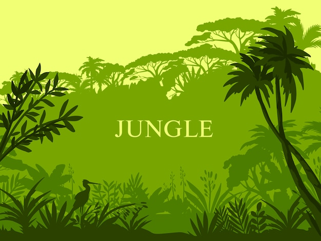 Jungle background with palm trees, exotic flora, stork outline and copy space.